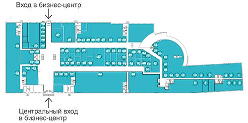 Схема расположения арендаторов и магазинов первого этажа БЦ Омега Плаза