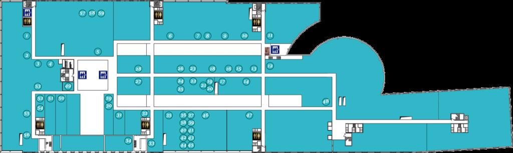 Схема расположения арендаторов второго этажа Омега Плаза