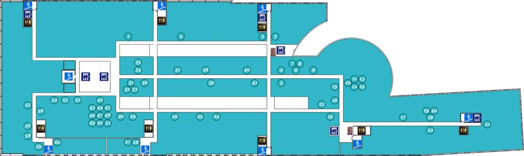 Схема расположения офисов арендаторов пятого этажа бизнес центра Омега Плаза